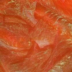 Органза жатая красная с желтым отливом ш.275