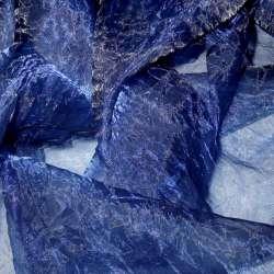 Органза жатая синяя темная ш.275