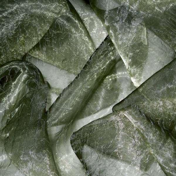Органза жатая болотно-серая с золотым отливом хамелеон ш.275