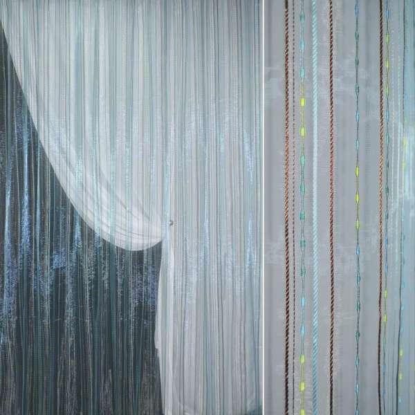 Органза голубая с разноцветными шенилловыми полосками, ш.280