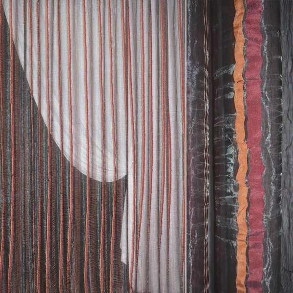 Органза жатая серая с терракотово-бордовыми жаккардовыми полосками ш.280