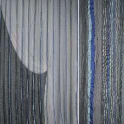 Органза жатая серая с сине-голубыми жаккардовыми полосками