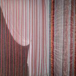 Органза жатая бордо с терракотово-бордовыми жаккардовыми полосками