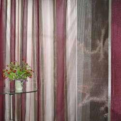 Органза с шелком в полоску коричнево-бордовую ш.300