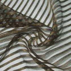 Органза-сетка коричневая в полоску ш.280
