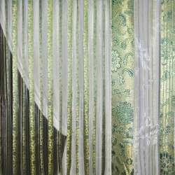Органза молочная с золотисто-зелеными парчовыми полосами и цветами, ш.275