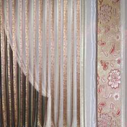 Органза розовая бледная с золотистыми парчовыми полосами и цветами ш.275