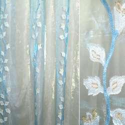 Органза бежево-голубая с голубыми цветами орари и люрексом