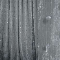 Органза орари серая в мелкие ромбы и люрексовые полоски ш.280