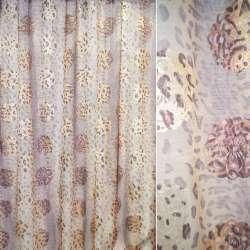 Органза молочная в светло-коричневый леопард и серебристо-розовые цветы ш.280