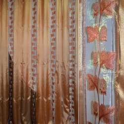 Органза в смужку золото-бордова з трояндами з люр, ш280