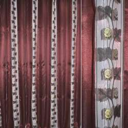 Органза в смужку вишнева темна з трояндами з люрексу, ш.280