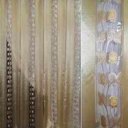 Органза в смужку бежево-золотиста з трояндами з люрексу, ш280
