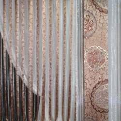Органза бежево-розовая в парчовые серебристо-бежевые полосы с цветами ш.280