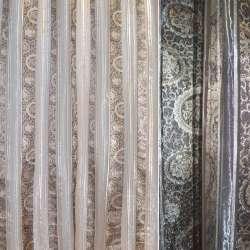 Органза серая светлая в парчовые бежево-серые полосы с цветами ш.280