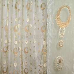 Органза бежевая с персиковыми, молочно-коричневыми овалами и золотым люрексом ш.280