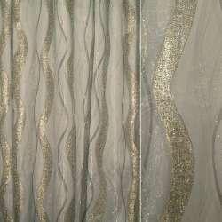 Органза серая светлая с серебристо-золотой парчой, ш.280