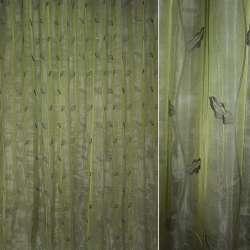 органза 2-х слойн. зеленая с дубовыми листьями   ш.280