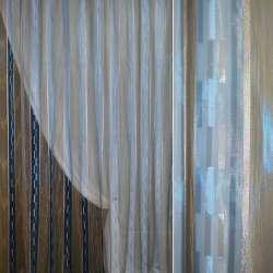 Органза голубая с бежевой полосой, бежево-голубым орари и люрексом