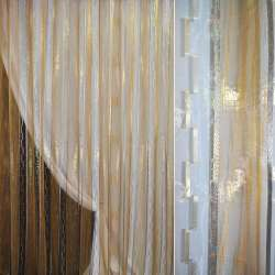 Органза золотая с бежевой полосой, золотистым и бежевым орари и люрексом