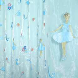Органза штамп голубая с балериной и цветами ш.275