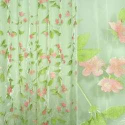 Органза штамп салатов в розовые цветы ш.275 (2 сорт)