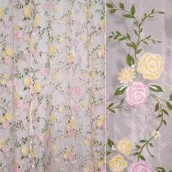 Органза розовая, штамп желто-розовые цветы, зеленые листья ш275