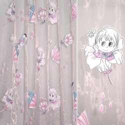 Органза розовая, штамп девочка в цветке ш.275