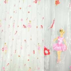 Органза белая, штамп балерина с розовыми цветами ш.275