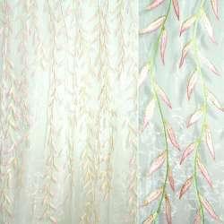 Органза штамп белая в розовые ивы ш.275