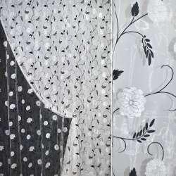 Органза штамп белая в розы с серебристыми блестками ш.275