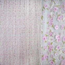 Органза штамп белая в розово-сиреневый цветок ш.275