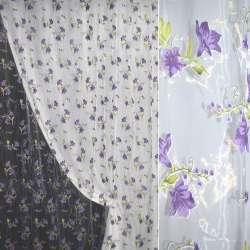 Органза штамп белая в сиреневую лилию ш.280