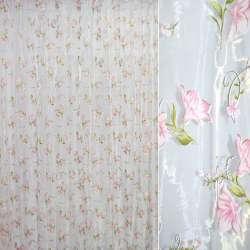 Органза штамп белая в розовый цветок ш.280