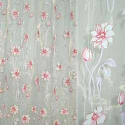 Органза штамп белая в бело-розовый цветок ш.280