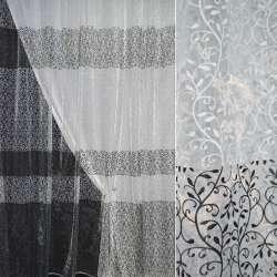 Органза белая с черно-белыми завитками купон штамп ш.280