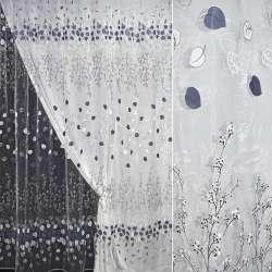 Органза белая с черно-синими веточками и листьями купон штамп ш.280