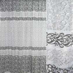 Органза белая с серо-белыми завитками купон ш.270