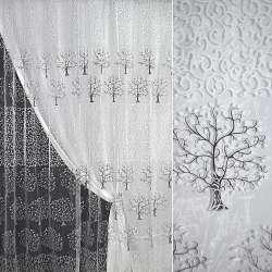 Органза белая с завитками и черными деревьями купон штамп ш.280