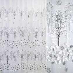 Органза белая с черными деревьями и листьями штамп ш.275