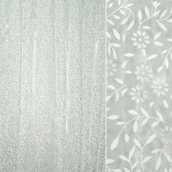 Органза белая в белые веточки и цветы с блестками ш.270