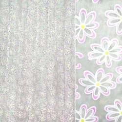 Органза белая в сиреневые цветы ш.270