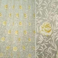 Органза бежевая с блестящими розами и веточками ш.270