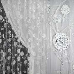 Органза белая в бело-черные цветы с блестками ш.270