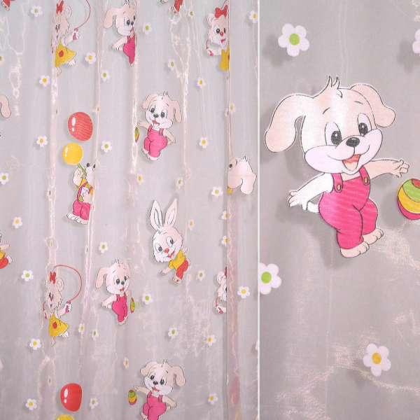 Органза розовая с зайчиками и мишками ш.270