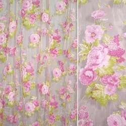 Органза розовая бледная в розовые цветы и салатовые листья ш.270
