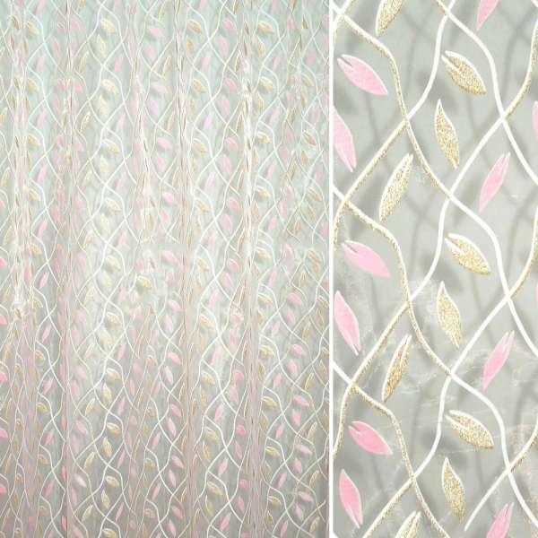 Органза розовая диагональная клетка с розовыми блестящими листочками ш.270
