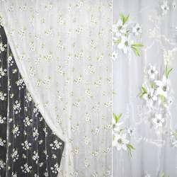 Органза белая с белыми лилиями и салатовыми листьями ш.270