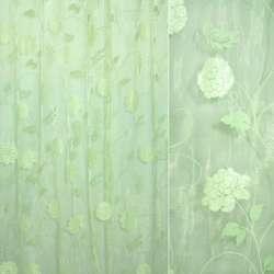 Органза салатовая с салатовыми цветами с блестками ш.270