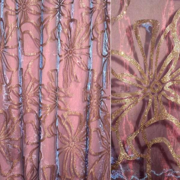 Органза бордовая с синим отливом, цветы с золотыми блестками ш.270
